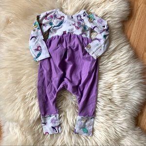 Mermaid low back purple baby romper